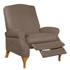 Oversized Faux Suede Push Back Recliner, MUSHROOM