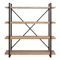 """Brown Wood Industrial Shelving Unit, 67 """" x 47 """" x 14 """", WHITE"""