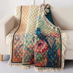 Eden Peacock Quilted Throw Blanket, ECRU