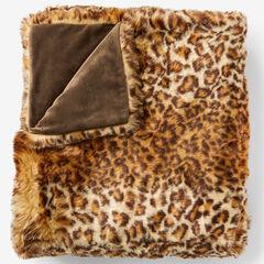 Plush Faux Fur Throw, CHEETAH