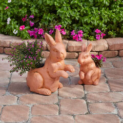 Set of 2 Bunny Planters, TERRACOTTA