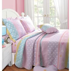Greenland Home Fashions Polka Dot Stripe Quilt and Pillow Sham Set, MULTI