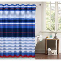 Harbor Stripe Shower Curtain, BLUE RED WHITE