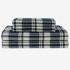 Flannel Printed Sheet Set, NAVY PLAID