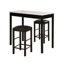 Lancer 3-Pc. Tavern Set, Faux Black Marble, BLACK