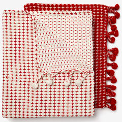 2-Pack Throw Set, RED IVORY