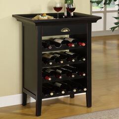 "Black with ""Merlot"" Rub through Wine Cabinet, BLACK"