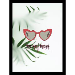 "Yves Saint Laurent Heart Sunglasses Red/Green 14"" x 18"" Framed Print, BLACK"