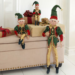 """38""""H Posable Christmas Elf, RED GREEN GOLD"""