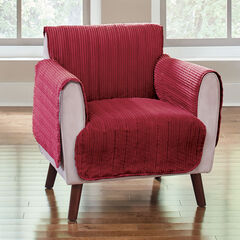 Reversible Plush Stripe Chair Protector, CRANBERRY