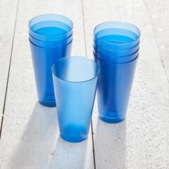 8-Pc. Blue Plastic Drinkware Set, BLUE