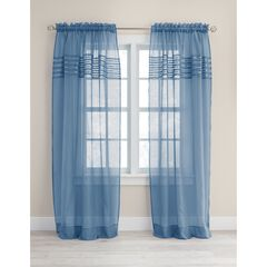 BH Studio Pleated Voile Rod-Pocket Panel, SMOKE BLUE