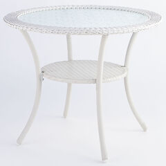 Roma All-Weather Resin Wicker Bistro Table, WHITE