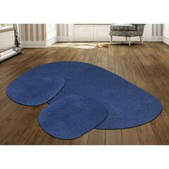 Country Braid Collection 3 Piece Set Durable & Stain Resistant Reversible Indoor Oval Area Rug , BLUE SOLID