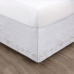 Coastal Seashell White Bed Skirt 18-inch, WHITE