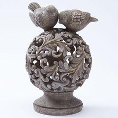 Pre-lit Lantern with Birds, STONE
