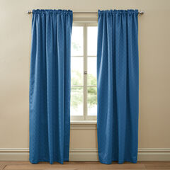 Diamond Thermal Rod-Pocket Curtain, BLUE
