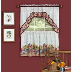 Farmer's Market Printed Tier and Swag Window Curtain Set, MULTI