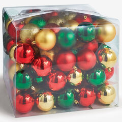 100-Pc. Ornament Set, RED GOLD GREEN