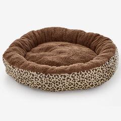 Leopard Print Round Pet Bed, CHOCOLATE LEOPARD