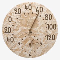 Fossil Sumac Thermometer Clock, LIMESTONE