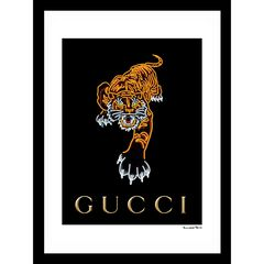 "Gucci Tiger Black/Orange 14"" x 18"" Framed Print, BLACK GREY"