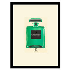 """Chanel Bottle Quote """"My Life"""" - Green / White - 14x18 Framed Print, GREEN WHITE"""