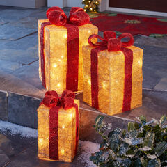 Pre-Lit Gift Boxes, Set of 3, RED GOLD