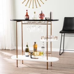 Dagney Wine/ Bar Table with Glassware Storage, BLACK