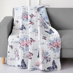 Barefoot Bungalow Garden Joy Quilted Throw Blanket, WHITE