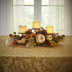 """24"""" Gold Pumpkin Harvest Centerpiece with 3 LED Candles, GOLD"""