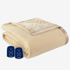 Micro Flannel® Reverse to Ultra Velvet® Electric Blanket, CAMEL