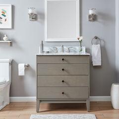 Lyleston Farmhouse Vanity Sink w/ Marble Top, GRAY