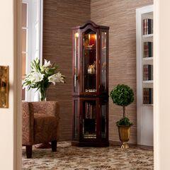 Lighted Corner Curio Cabinet, MAHOGANY