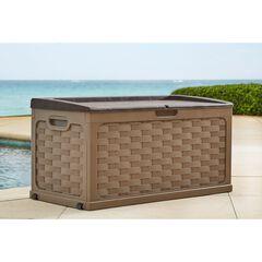88-Gallon Basketweave Deck Storage Bench, TAN