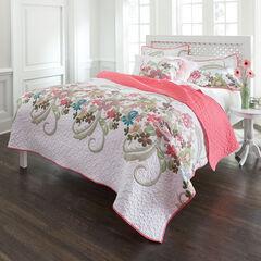 Jardin Floral Spring Quilt, WHITE PINK