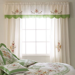 Ava Embroidered Panel Set with Tiebacks, GREEN