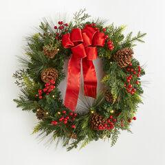 "Pre-Lit Classic 28"" Wreath,"
