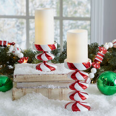 Candy Cane Candleholders & Candles, Set of 2, RED WHITE