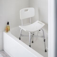 Deluxe Bariatric Shower Chair with Cross-Frame Brace, WHITE