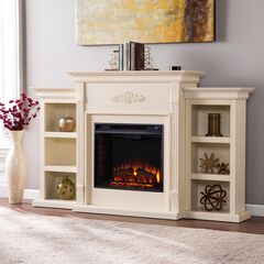 Tennyson Electric Fireplace with Bookcases, IVORY