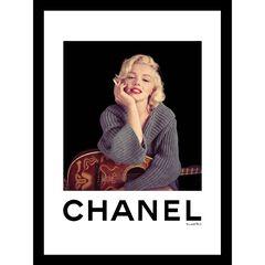 "Marilyn Monroe with Guitar Grey 14"" x 18"" Framed Print, BLACK WHITE"