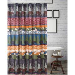 Black Bear Lodge Shower Curtain , MULTI