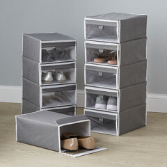 Set of 5 Shoe Storage Boxes, GRAY