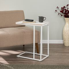 Danner White C Table/Laptop Desk with Acacia Wood Top, WHITE