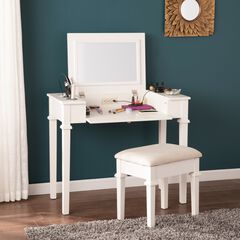 Rovelli Powered Vanity Desk with Stool, BEIGE