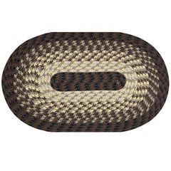 "Alpine Braid Collection Reversible Indoor Area Rug in Vibrant Colors, 20"""" x 30"""" Oval , CHOCOLATE STRIPE"