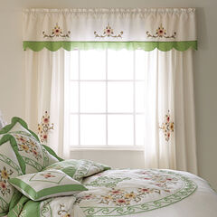 Ava Embroidered Valance, GREEN