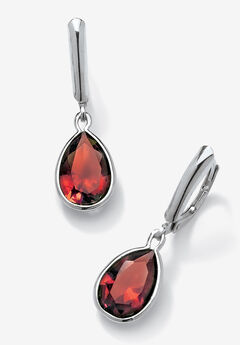 Sterling Silver Drop Earrings Pear Cut Simulated Birthstones,