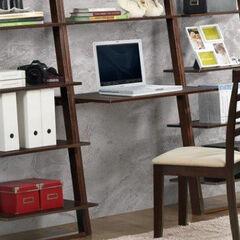 Arlington Wall Shelf with Desk, CAPPUCCINO